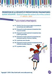 Promotion de la sécurité et prévention des traumatismes Outil à l'usage des acteurs du milieu scolaire - 1ère édition - 2020 - Fiches pratiques