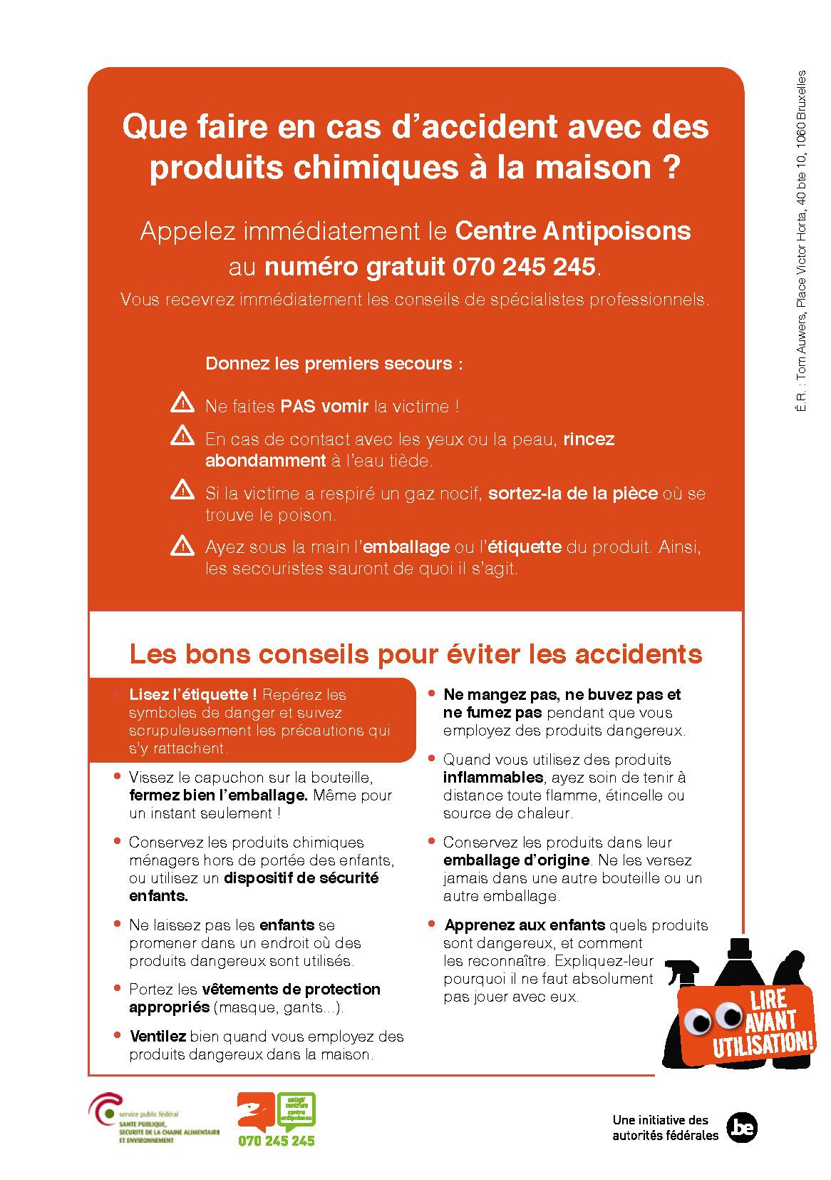 Que faire en cas d'accident avec des produits chimiques à la maison ?